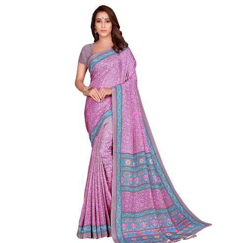 Exotic Pink Colored Casual Wear Printed Crepe Saree