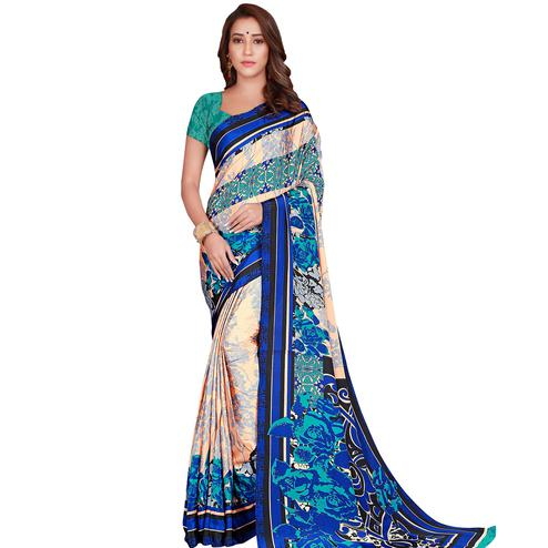 Trendy Cream-Blue Colored Casual Wear Printed Crepe Saree