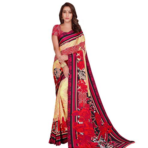 Radiant Yellow-Red Colored Casual Wear Printed Crepe Saree
