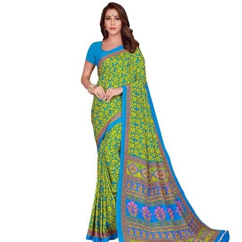 Pleasant Green Colored Casual Wear Printed Crepe Saree