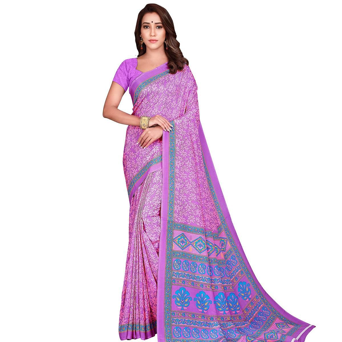 Opulent Pink Colored Casual Wear Printed Crepe Saree