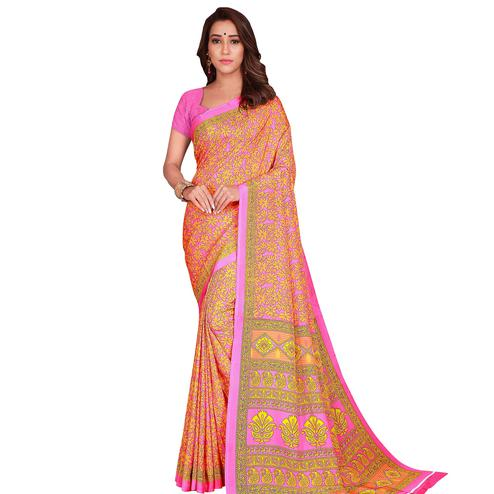 Energetic Orange Colored Casual Wear Printed Crepe Saree
