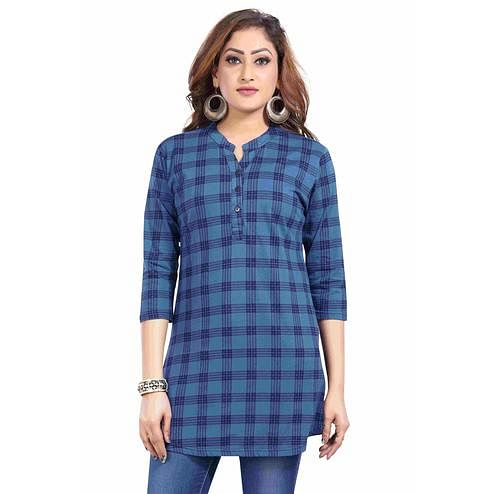 Just4You - Ladies Blue Colored Casual Wear Checkered Cotton Kurti