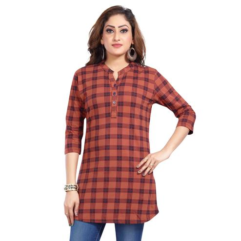 Just4You - Ladies Red Colored Casual Wear Checkered Cotton Kurti