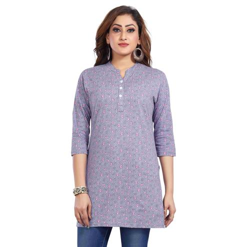 Just4You - Ladies Multi Colored Casual Wear Printed Cotton Kurti