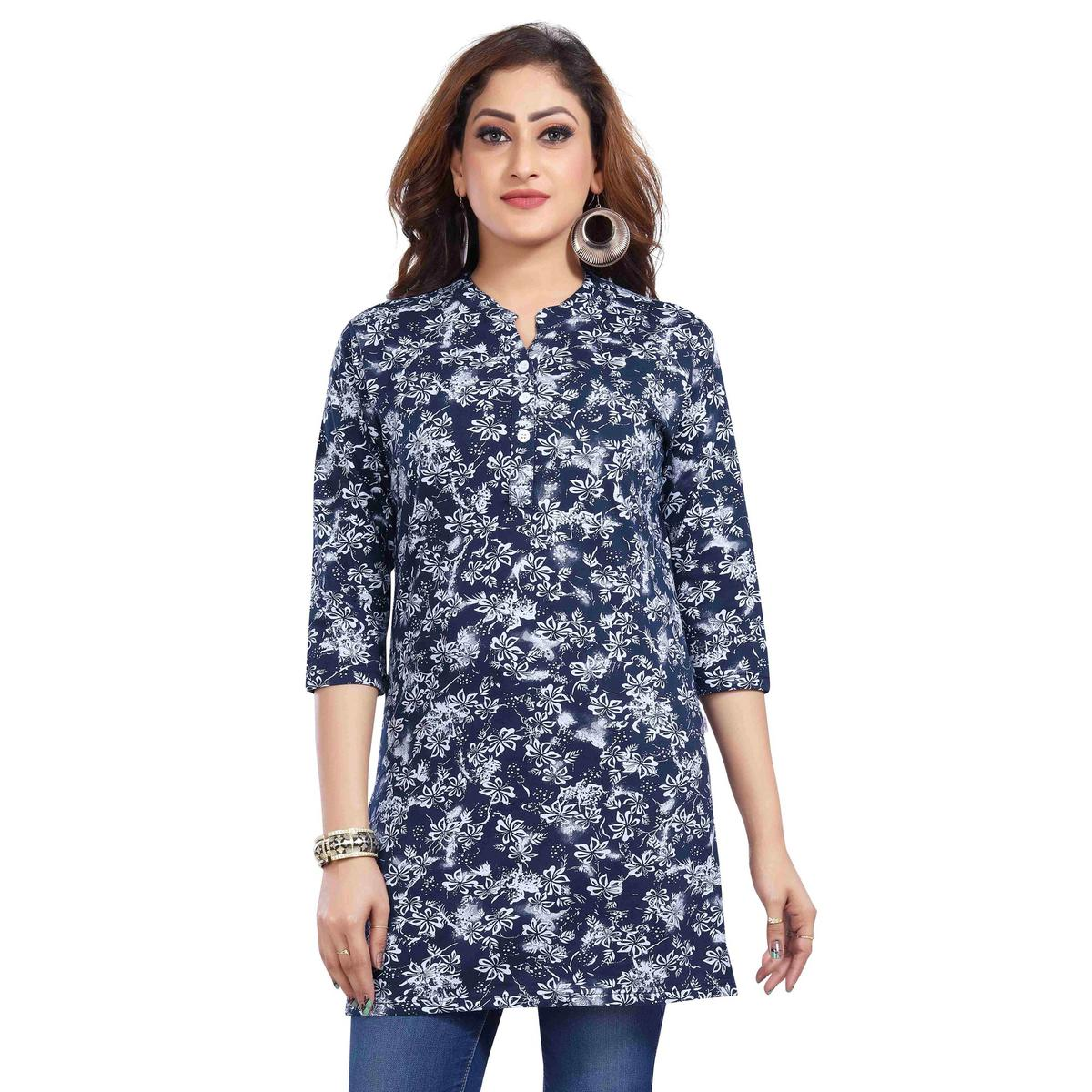 Just4You - Ladies Blue Colored Casual Wear Printed Cotton Kurti