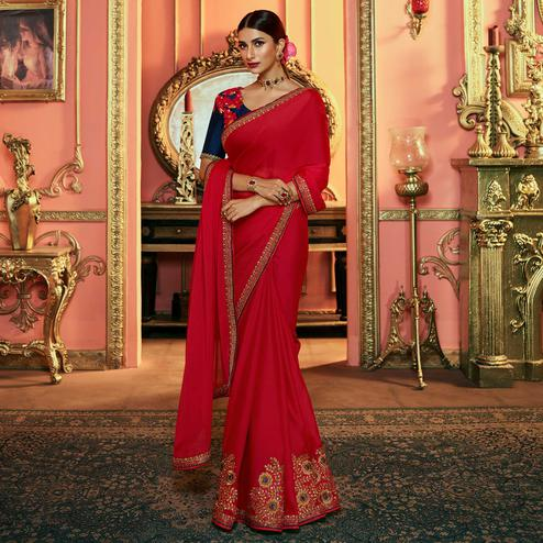 Gleaming Red Colored Partywear Embroidered Silk Saree