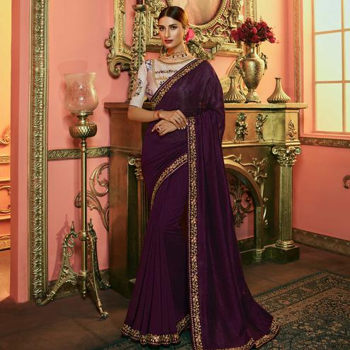 Unique Wine Colored Partywear Embroidered Kashmiri Silk Saree