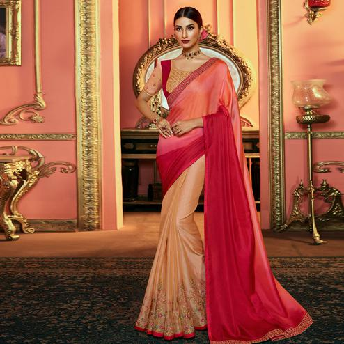 Magnetic Pink - Beige Colored Partywear Embroidered Satin Silk Half - Half Saree