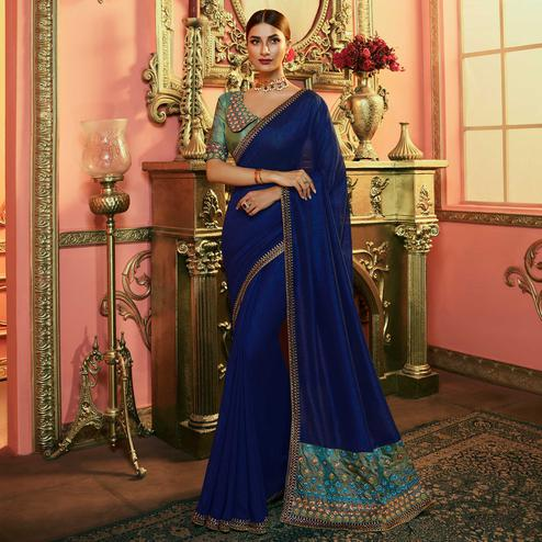 Hypnotic Navy Blue Colored Partywear Embroidered Vichitra Silk Saree