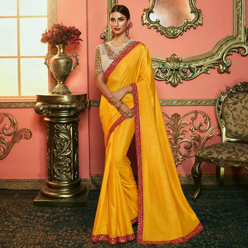 Flattering Mustard Yellow Colored Partywear Embroidered Silk Saree