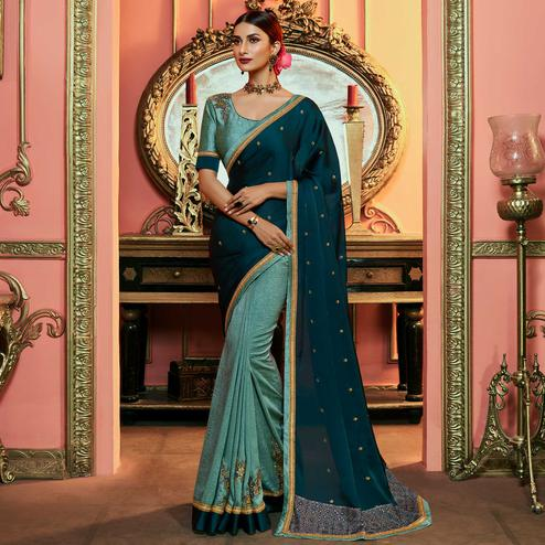Excellent Teal Blue - Blue Colored Partywear Embroidered Satin Silk Half - Half Saree