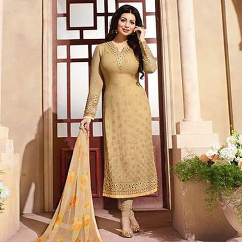 Beige Straight Cut Georgette Suit