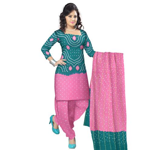 Bandhaniwala - Sea Green Colored Casual Wear Bandhani Printed Cotton Satin Dress Material