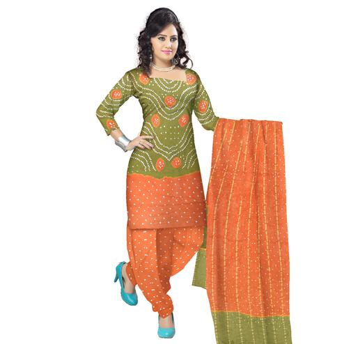 Bandhaniwala - Olive Green Colored Casual Wear Bandhani Printed Cotton Satin Dress Material