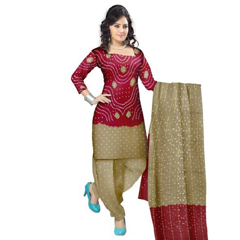 Bandhaniwala - Dark Red Colored Casual Wear Bandhani Printed Cotton Satin Dress Material