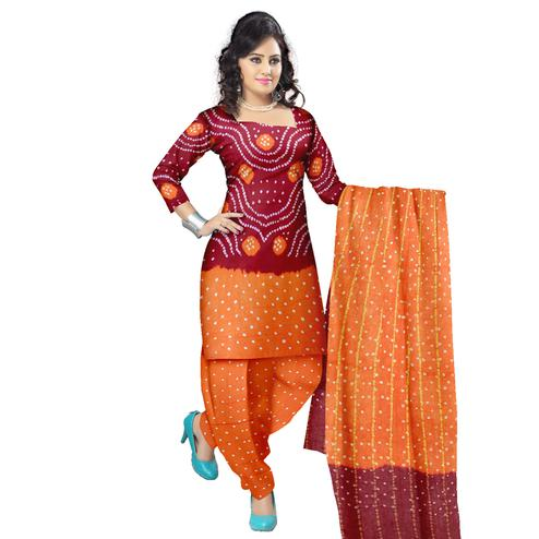 Bandhaniwala - Maroon Colored Casual Wear Bandhani Printed Cotton Satin Dress Material