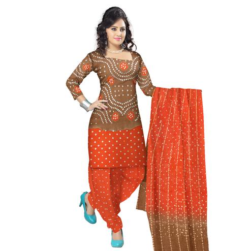 Bandhaniwala - Brown Colored Casual Wear Bandhani Printed Cotton Satin Dress Material