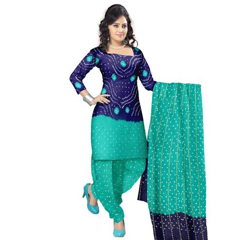 Bandhaniwala - Blue Colored Casual Wear Bandhani Printed Cotton Satin Dress Material