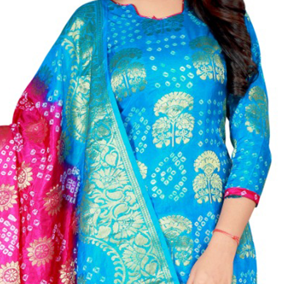 Bandhaniwala - Blue Colored Festive Wear Zari Butta Work Art Silk Dress Material