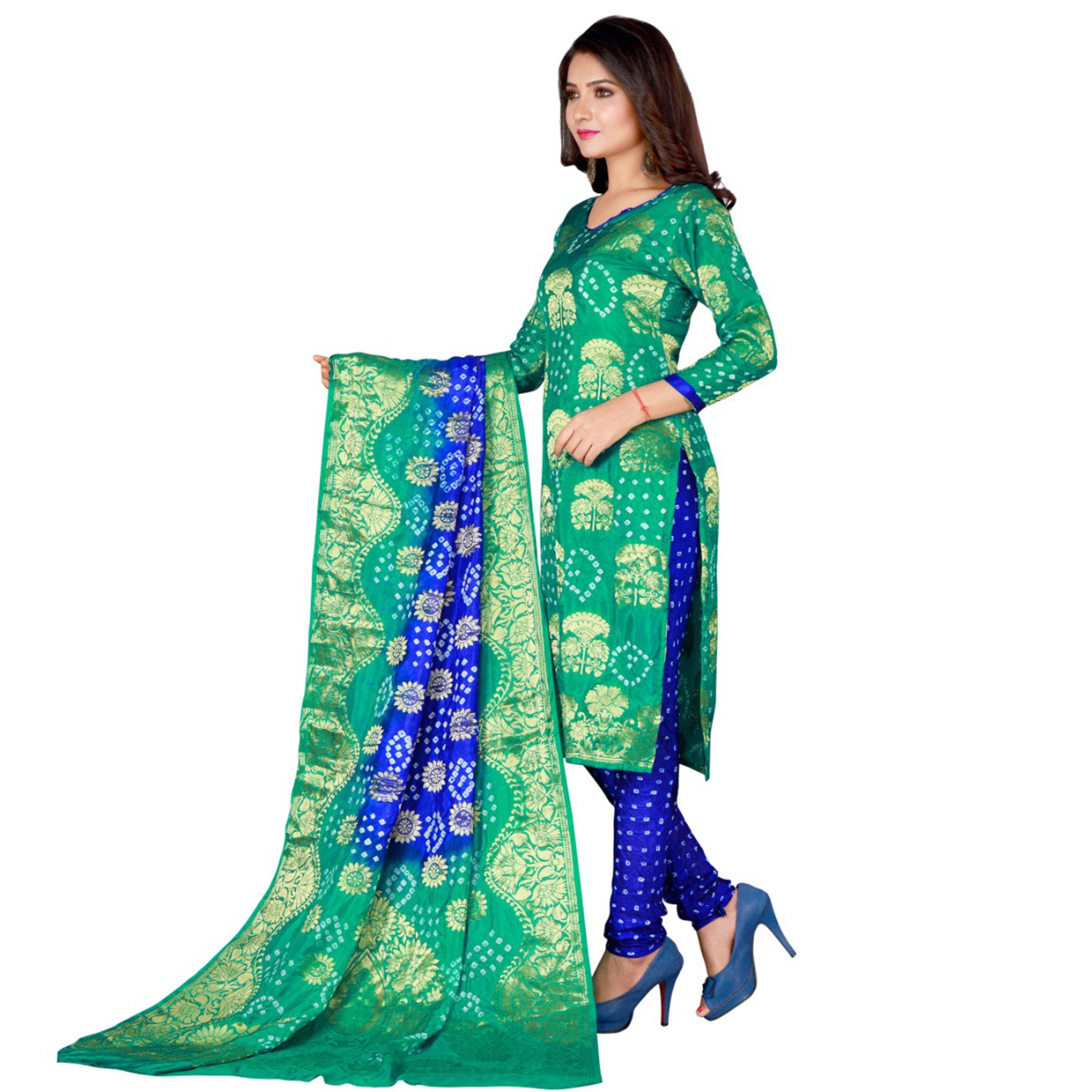 Bandhaniwala - Sea Green Colored Festive Wear Zari Butta Work Art Silk Dress Material