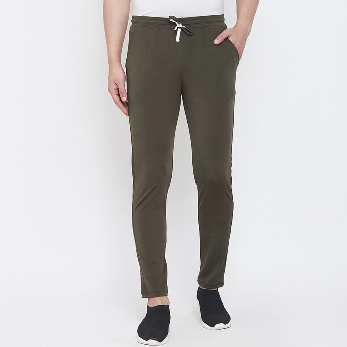 OMADAM - Men Olive Colored Casual Polyester Track Pant