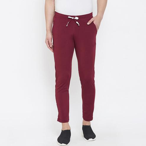 OMADAM - Men Red Colored Casual Polyester Track Pant