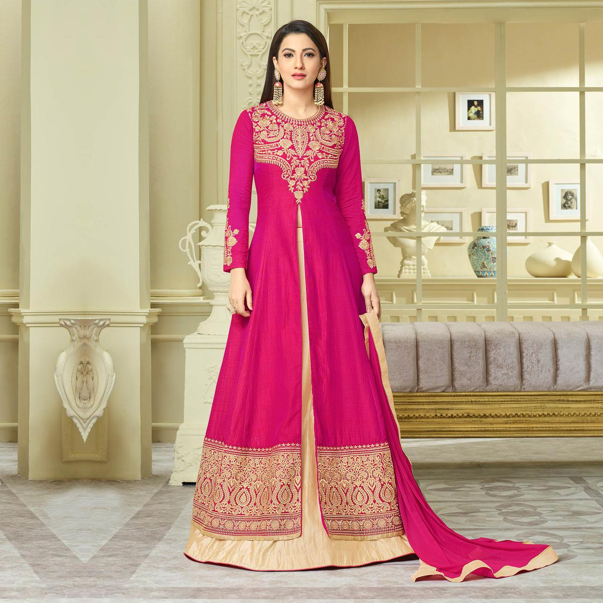 Dazzling Pink Designer Partywear Embroidered Mulberry Silk Abaya Style Anarkali Suit