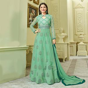 Graceful Green Designer Partywear Embroidered Mulberry Silk Abaya Style Anarkali Suit