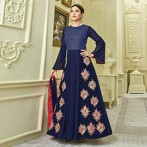Mesmerising Navy Blue Designer Partywear Embroidered Mulberry Silk Abaya Style Anarkali Suit