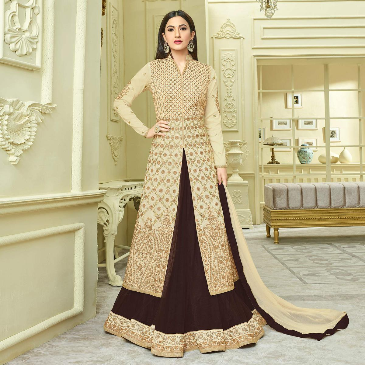 Classy Beige Designer Partywear Embroidered Mulberry Silk Abaya Style Anarkali Suit