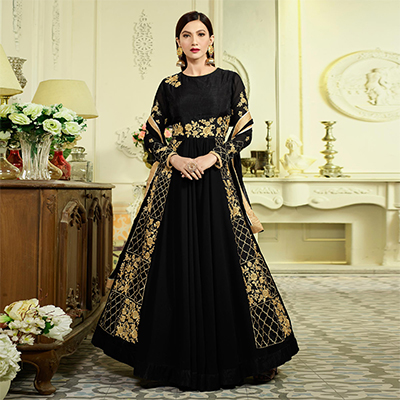 Stunning Black Designer Partywear Embroidered Mulberry Silk Abaya Style Anarkali Suit