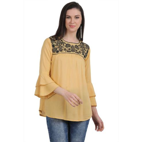 SAAKAA - Women's Rayon Beige Embroidery Top