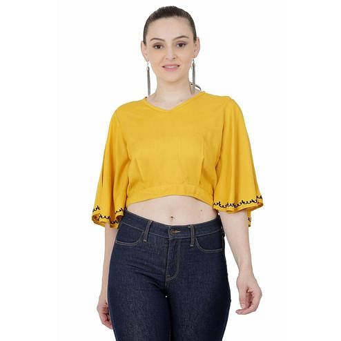 SAAKAA - Women's Rayon Mustard Crop Top