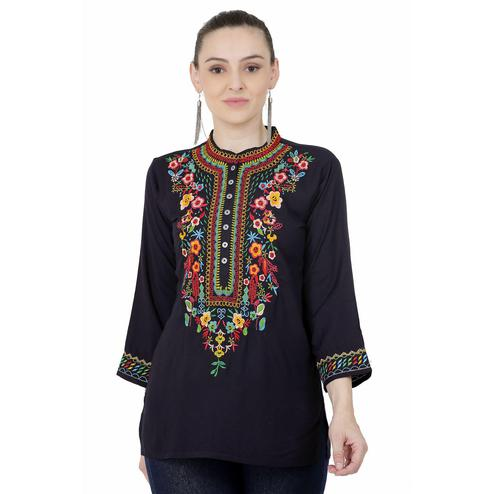 SAAKAA - Women's Rayon Navy Blue Embroidery Top