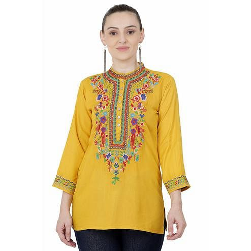 SAAKAA - Women's Rayon Mustard Embroidery Top