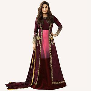 Pink-Maroon Designer Embroidered Georgette & Art Silk Abaya Style Anarkali Suit