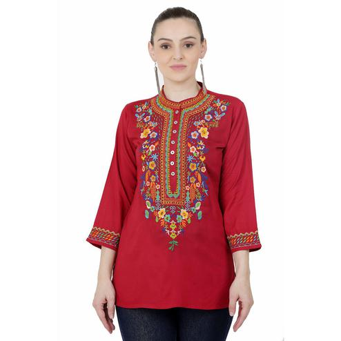 SAAKAA - Women's Rayon Maroon Embroidery Top