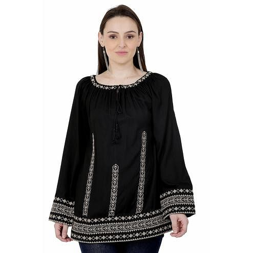 SAAKAA - Women's Rayon Black Embroidery Top