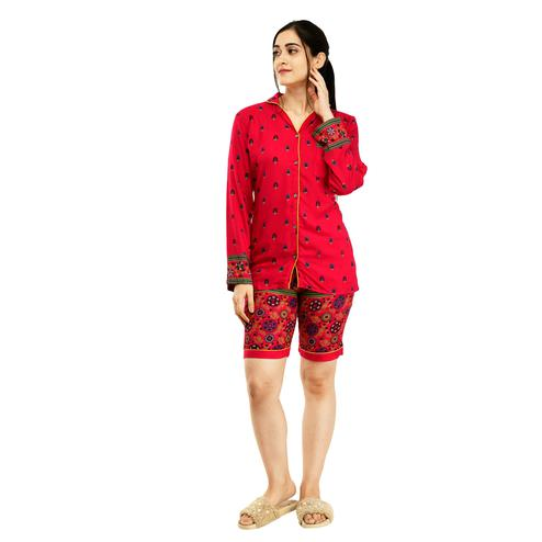 SAAKAA - Women's Rayon Pink Printed Nightwear Dress