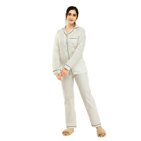 SAAKAA - Women's Rayon White Casual Nightwear Dress