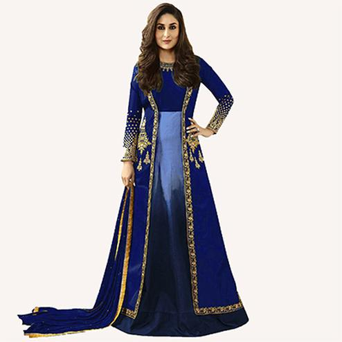 Blue Designer Embroidered Georgette & Art Silk Abaya Style Anarkali Suit