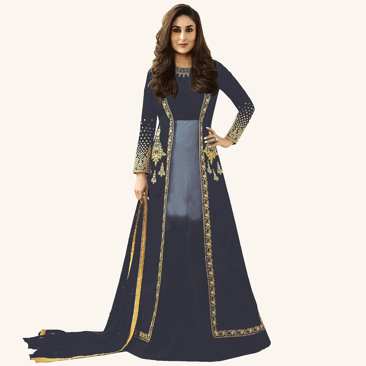 Gray Designer Embroidered Georgette & Art Silk Abaya Style Anarkali Suit