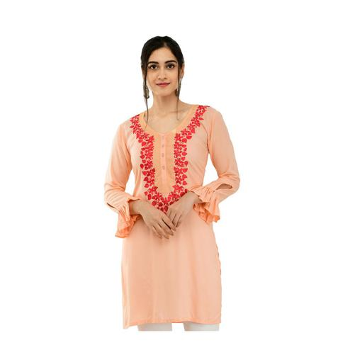 SAAKAA - Women's Rayon Peach Embroidery Kurti