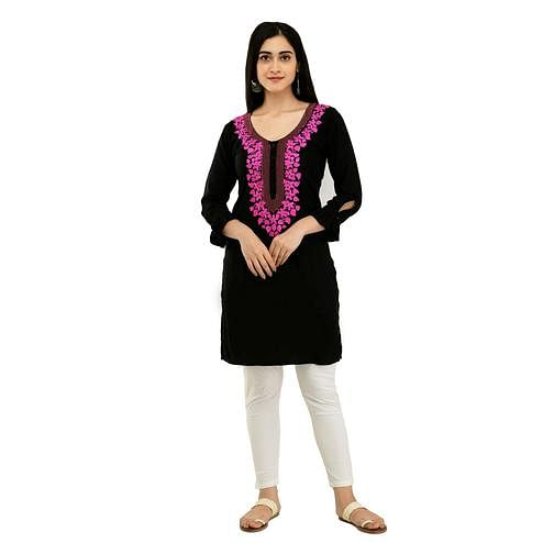 SAAKAA - Women's Rayon Navy Blue Embroidery Kurti