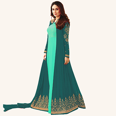 Sky Blue-Green Designer Embroidered Georgette Abaya Style Anarkali Suit