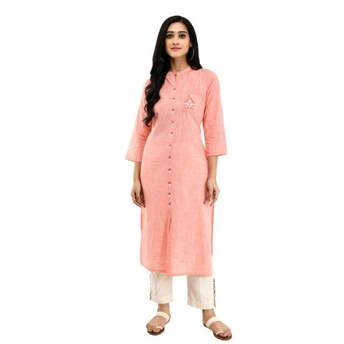 SAAKAA - Women's Semi Cotton Peach Embroidery A-Line Kurti