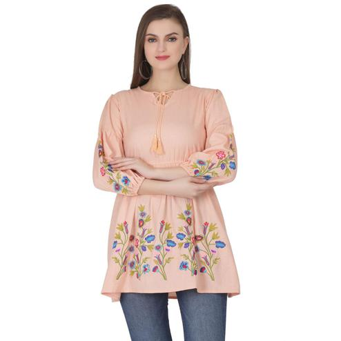 SAAKAA - Women's Rayon Peach Embroidery Top