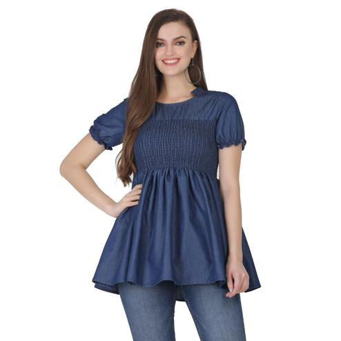 SAAKAA - Women's Denim Blue Casual Top