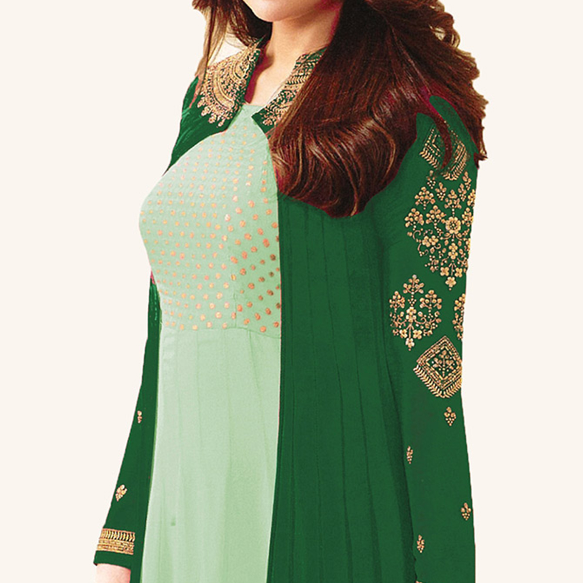 Green Designer Embroidered Georgette Abaya Style Anarkali Suit